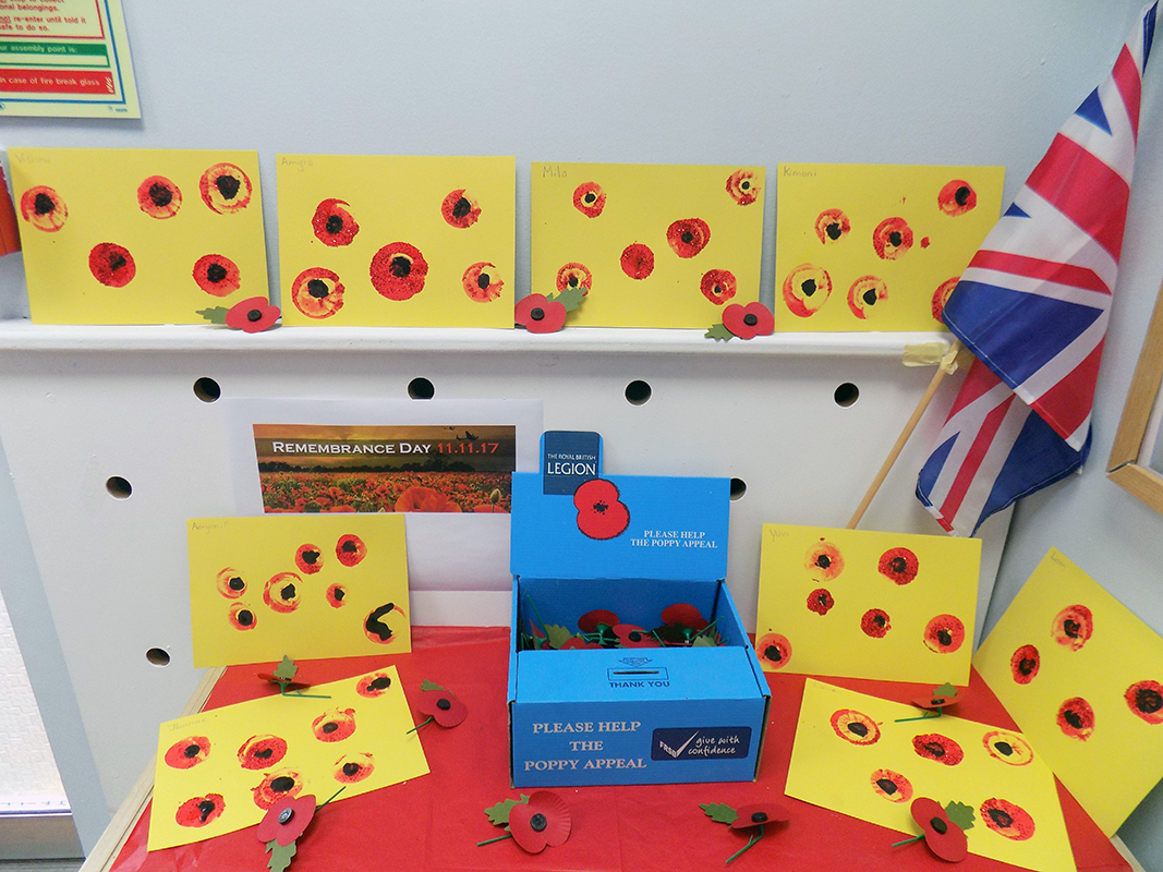 The children have been learning all about the war and the importance of Remembrance Day! They made lovely poppies which we have proudly displayed at the nursery.